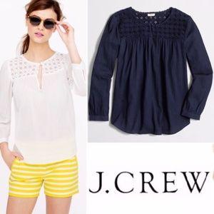 J. Crew Embroidered Gauze Long Sleeve Navy Blue 4